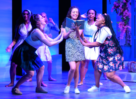 Just like her mother, Sophie Sheridan (Chanel Tilghman, center) has her friends (Claire Noelle Pearson, left, and Jennifer Frazier, right) when she needs them most. Photo by Ben Krantz.