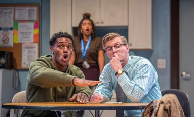 Sadie (Sam Jackson, center) thinks Donnie (Tre'Vonne Bell) has a foul mouth, but Ricky (Adam Nieman) thinks he has good ideas. Photo by David Allen.