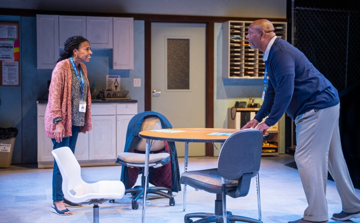 Pam (Margo Hall) and Arnold (Michael Nasberry) have unfinished business. Photo by David Allen.