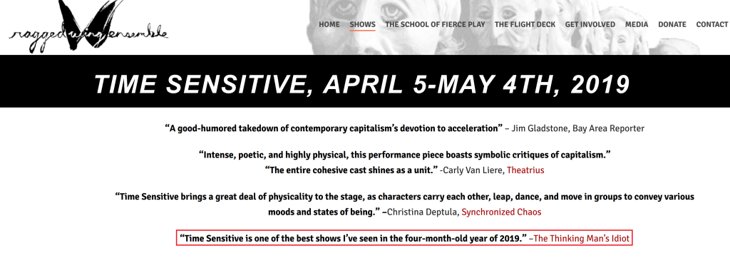 My blurb on Ragged Wing's website - Time Sensitive